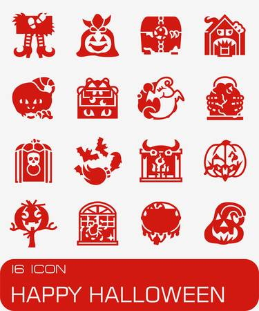 Happy Hallowen icon set in colored red illustration.