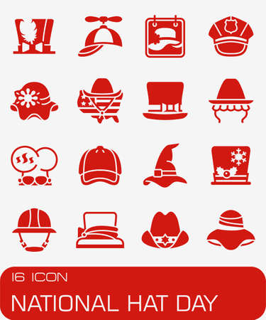 Vector National Hat Day icon set