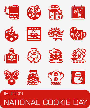 National Cookie Day icon set in colored red illustration.