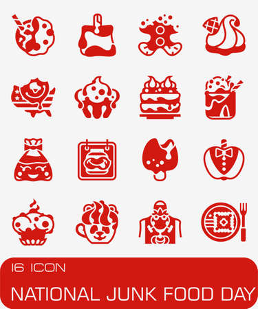 Vector National Junk Food Day icon set