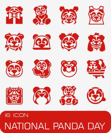 Vector National Panda Day icon set Иллюстрация