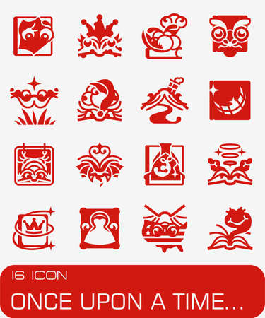 Vector Once Upon A Time icon set on red background