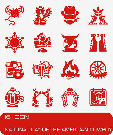 National Day of the American Cowboy icon set in colored red illustration. Иллюстрация