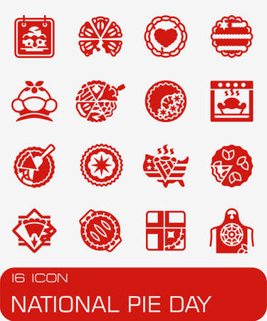 Vector National Pie Day icon set