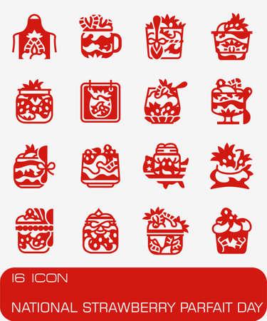 Vector National Strawberry Parfait Day icon set Иллюстрация