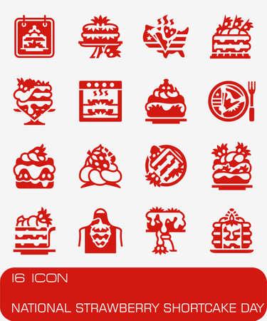 Vector National Strawberry Shortcake Day icon set