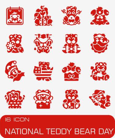 National teddy bear day icon set.
