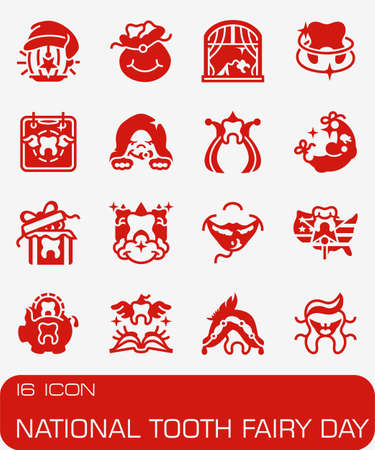 National Tooth Fairy day icon set.