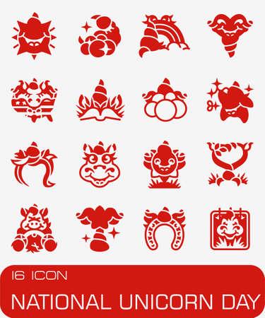 National Unicorn day icon set. Иллюстрация
