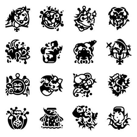 Vector Alice through the Looking Glass icon set on white background