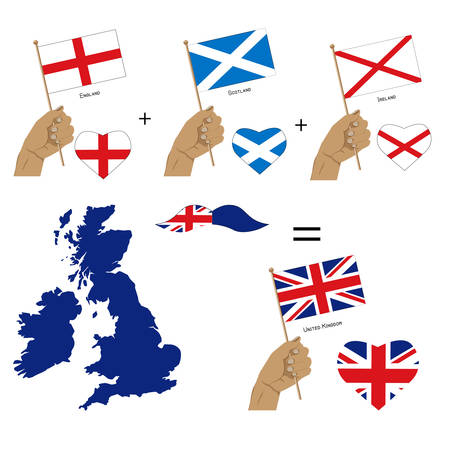 United Kingdom flags and map.