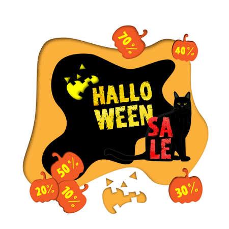Großer Halloween-Verkauf-Hintergrund mit schwarzer Katze Standard-Bild - 88245202