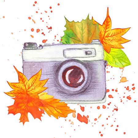 watercolor vintage camera with autumn leaves