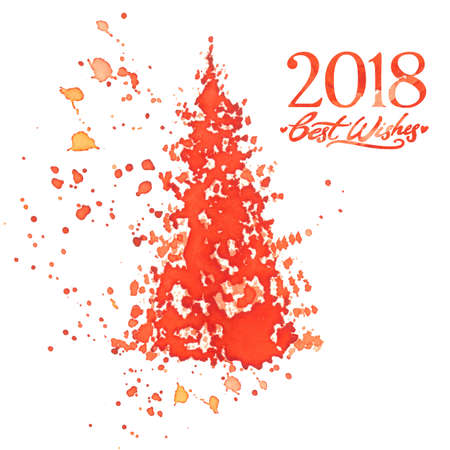 red watercolor christmas tree with splashes and 2018 best wishes