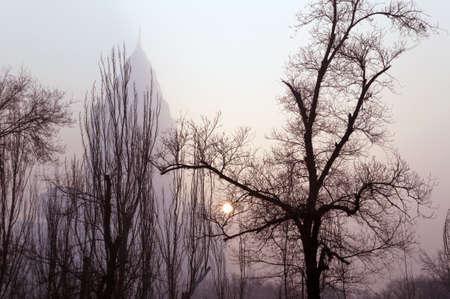 winter sun glimpse through smog in Urumqi