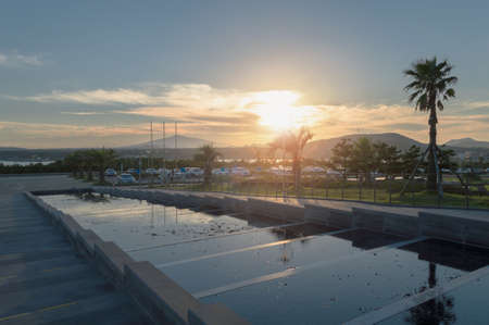 sunset on Jeju island parking lot with mountain view