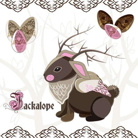 Illustration of Jackalope - mythology creature Vectores