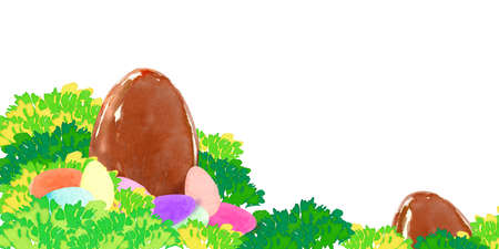 horizontal banner with watercolor  jellybeans and chocolate eggs in grass