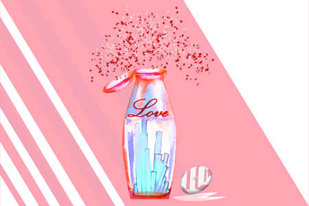 abstarct bottle withcandy and heart salute