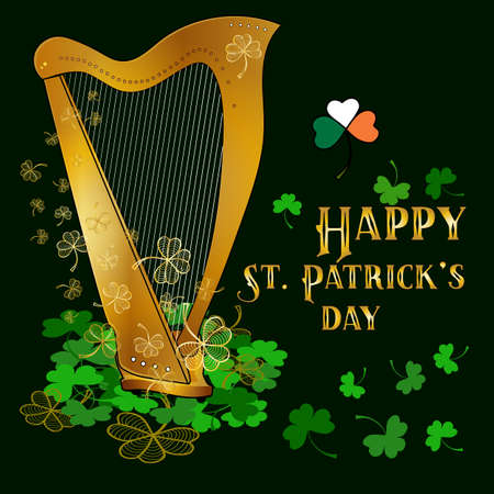 St. Patrick's day concept with golden clover and harp