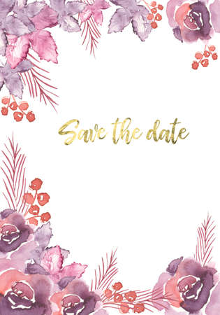 vertical template design of save the date card decorated with violet floral elements and golden text Banque d'images - 97701158