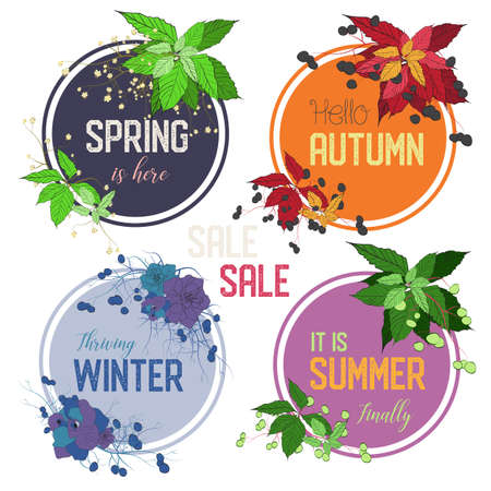 set of 4 seasons vector frames decorated with grapes leaves and roses in suitable color combinations and appropriate text