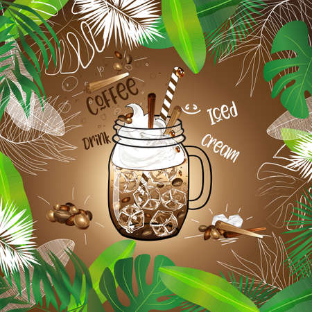 vector template of  iced coffee in mason jar decorated with whipped cream and cinnamon sticks in tropical leaves frame