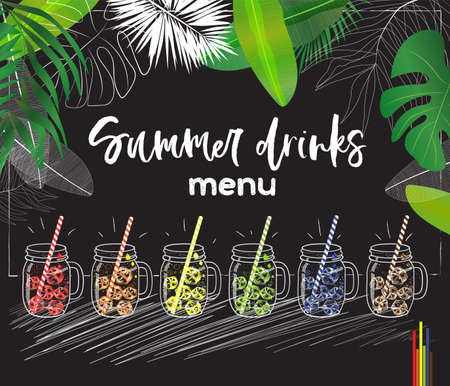 set of vector mason jars with colorful ice cubes and straws decorated with tropical leaves useful for summer drinks menu Illustration