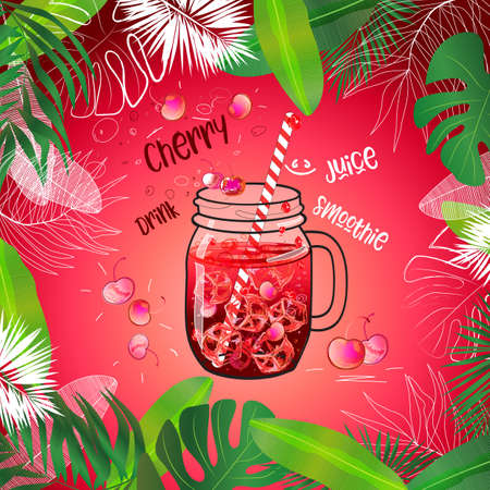 vector template of cold summer cherry drink in mason jar decorated with tropical leaves frame