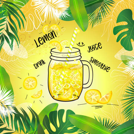 vector lemon drink in mason jar decorated with tropical leaves frame and bright background Illustration
