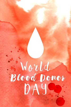 concept of blood donor day with red watercolor background and abstract blood drops