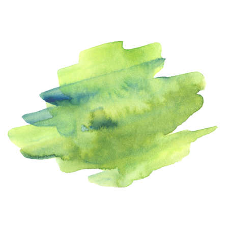 green and blue watercolor paint strokes isolated on white background Stock Photo