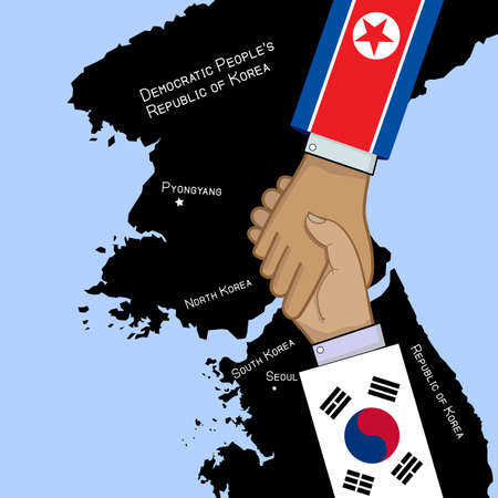 South And North Korea  shaking hands with countries maps illustration. Stock Vector - 100585249