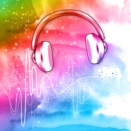 headphones on colorful background with abstract sound waves and splashes