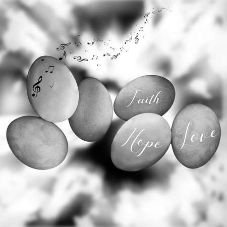 black and white illustration with Hope, Love and Faith signs on three stones in the abstract sky background