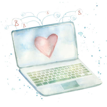watercolor laptop with abstract communicating people icons