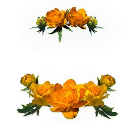 round flower frame made of orange globe flowers