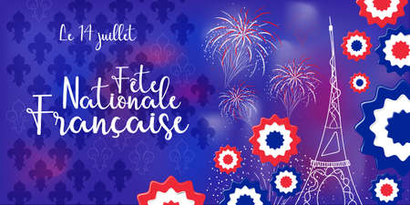 concept of celebration banner for Bastille day in France with 14 July and Bastille Day text in french