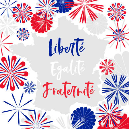 vector card with motto of France  in french meanening Liberty, Equality, Fraternity on map decorated with abstarct three colored fireworks