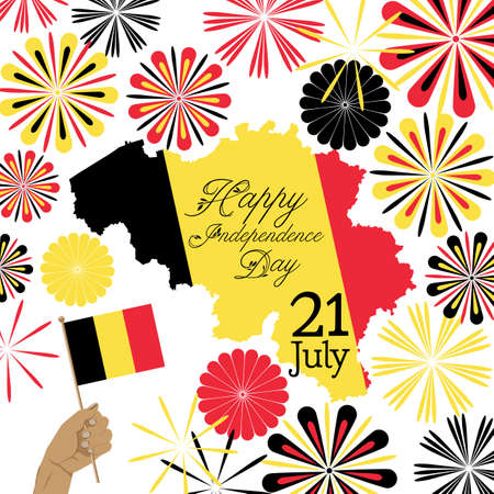 concept vector design for Belgium independence day with map and abstract fireworks