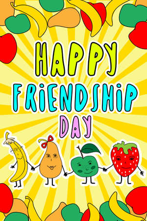 concept art for friendship day representing fruit funny characters holding hands with sunny background Ilustração