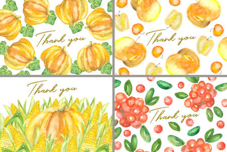 Set of 4 thank you cards decorated with different autumn watercolor crops