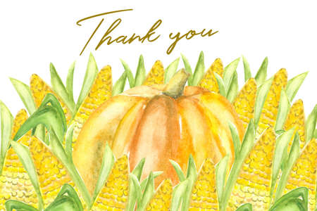 design of thank you card with watercolor autumn harvest of pumpkin and corn Stock Photo
