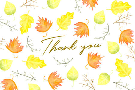 Thank you card design with watercolor autumn foliage and branches