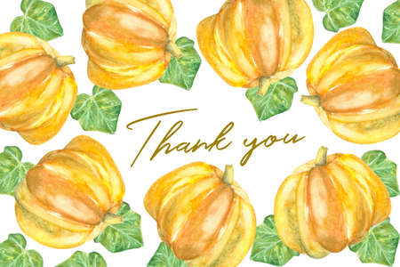 golden thank you text isolated on white background decorated with watercolor pumkins and pumpkins leaves Stock Photo