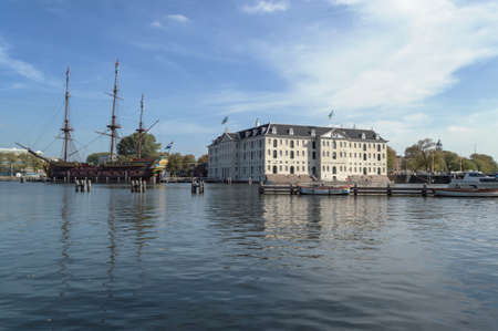 Amsterdam, The Netherlands, October 09, 2018: Replica of merchant ship in Maritime museum