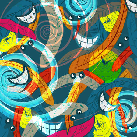 abstract madness and time rush background with clocks , eyes, feathers and spirals