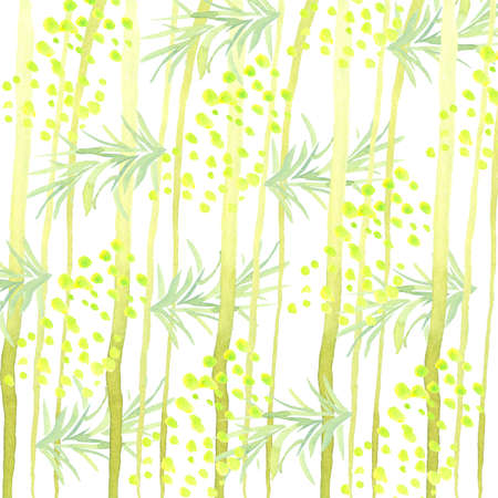 abstract pattern of watercolor trees, leaves and flowers isolated on white background