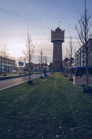 Den Helder, The Netherlands, October 13, 2018: Water tower Den Helder at sunset