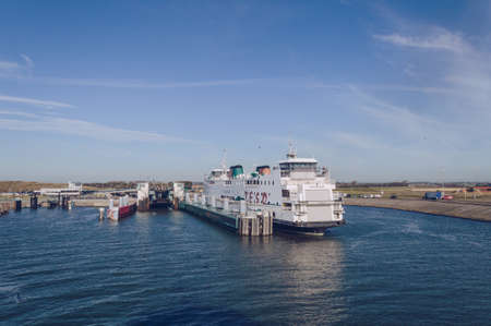 Texel, The Netherlands, October 13, 2018: Ferry Teso that transports cars and people to and from Texel Redakční